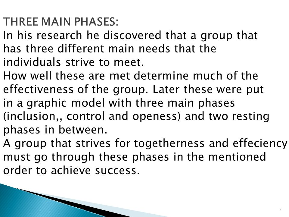 4 THREE MAIN PHASES: In his research he discovered that a group that has three different main needs that the individuals strive to meet.