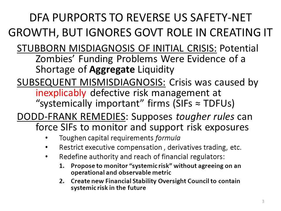 REFRAMING THE POLICY PROBLEM: How Can Society Incentivize and Monitor Private and Public Managers of National Safety Nets So that They Do NOT Encourage Subsidies to flow to Firms that Actively Expand Their Risk-Taking and Political Clout in Clever Ways Start by identifying Incentive Conflicts officials face: —Horizons (Obsession with near-term effects) —Multiple Principals for Top Officials —Asymmetric and Uncertain Information —Ethics: Lack of Accountability for Suppressing Information and for Tradeoffs made between Fairness to Taxpayers and Other Objectives 14