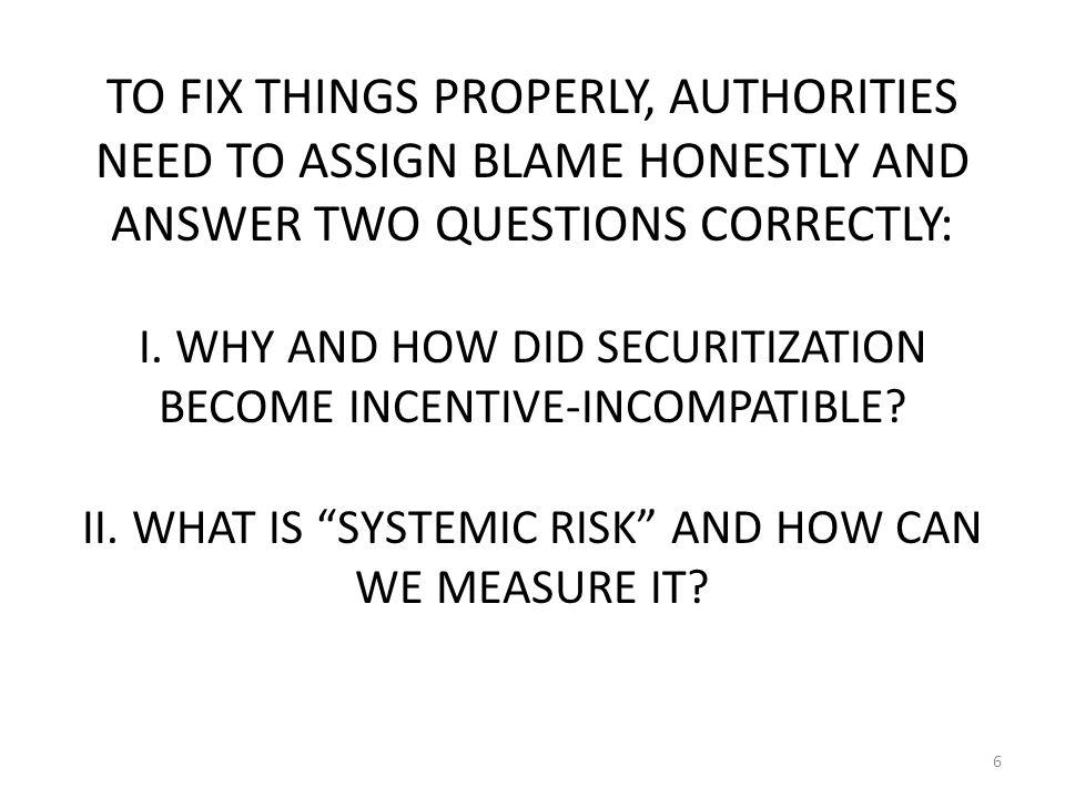 Qn.I. HOW DID SECURITIZATION LOSE INCENTIVE COMPATIBILITY.