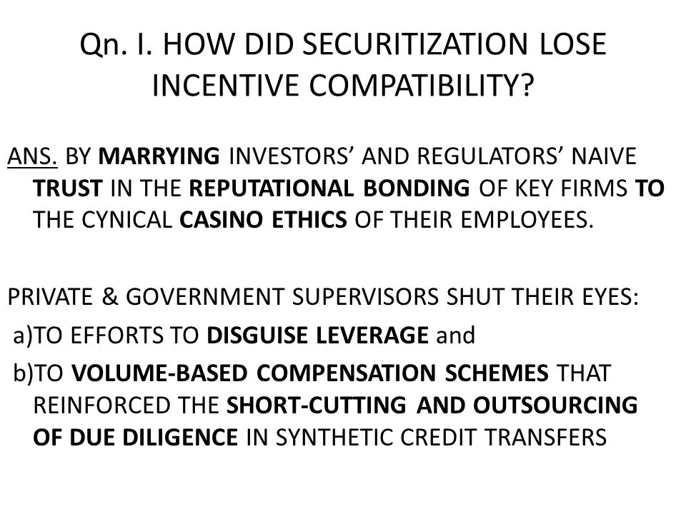 18 Key Defect Concerns Duty of Accountability: We need a Better Incentive Structure for private and government supervisors In principle, perfectly selfless supervisors would bond themselves to disclose enough information about their decisionmaking to allow outsiders and agency Inspectors General to hold them politically and financially accountable for neglecting or abusing their responsibilities.