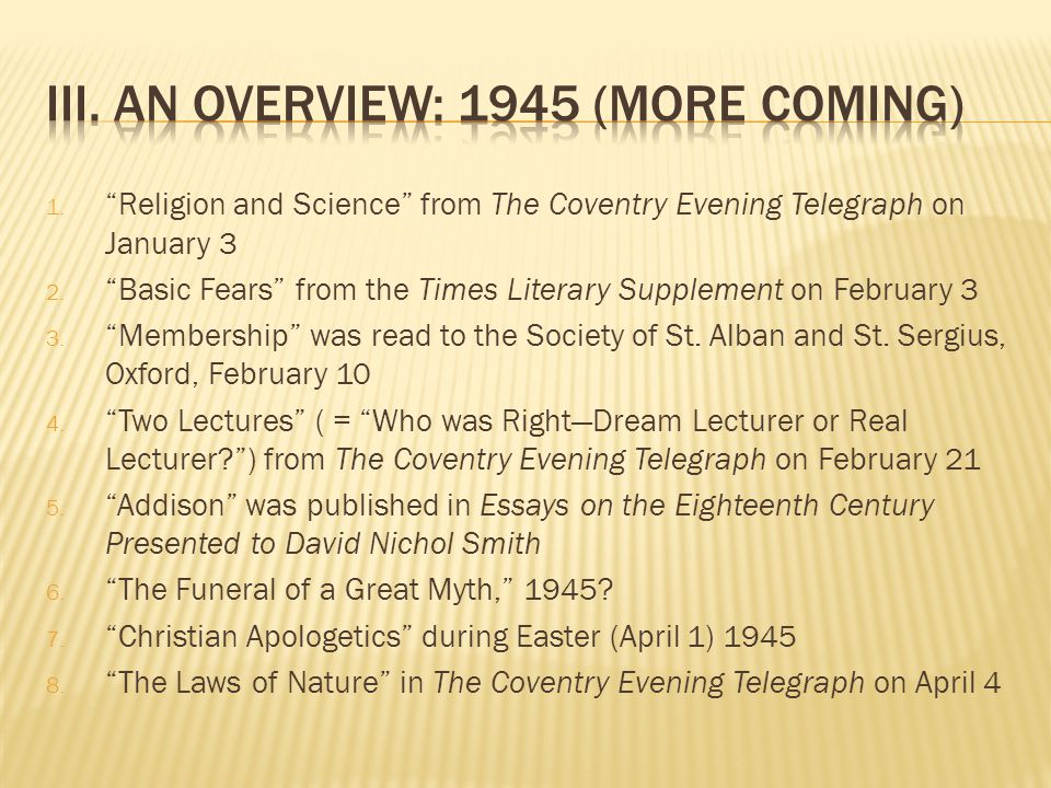 1. Religion and Science from The Coventry Evening Telegraph on January 3 2.