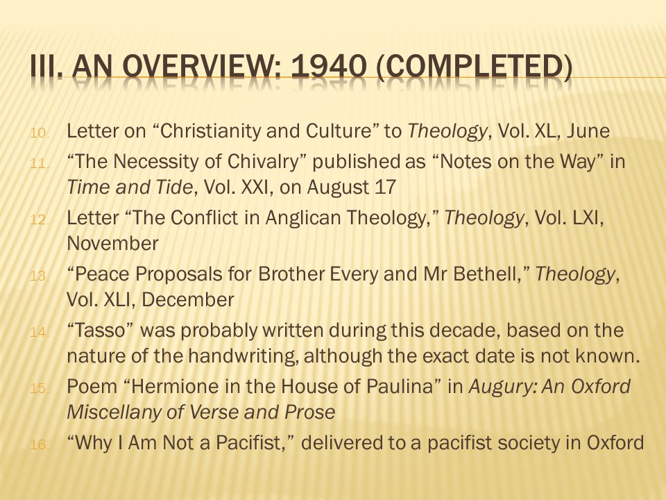 10. Letter on Christianity and Culture to Theology, Vol.
