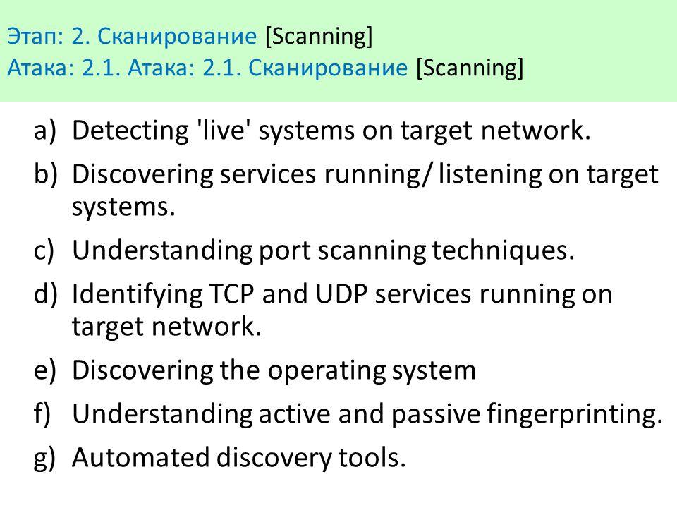 Этап: 2. Сканирование [Scanning] Атака: 2.1. Атака: 2.1. Сканирование [Scanning] a)Detecting 'live' systems on target network. b)Discovering services