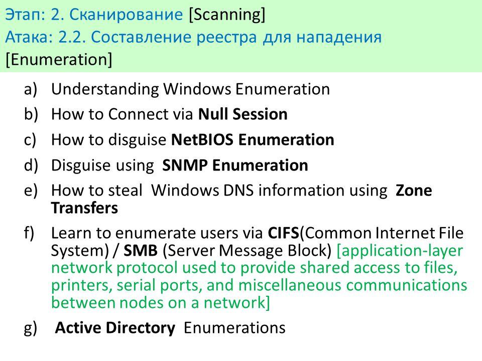 Этап: 2. Сканирование [Scanning] Атака: 2.2. Составление реестра для нападения [Enumeration] a)Understanding Windows Enumeration b)How to Connect via