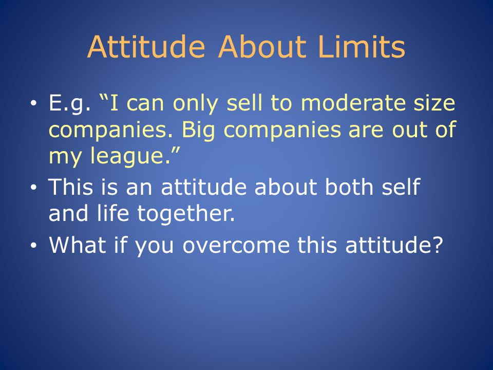 Attitude About Limits E.g. I can only sell to moderate size companies.