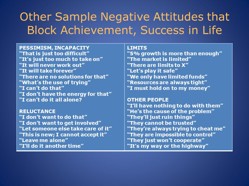 Other Sample Negative Attitudes that Block Achievement, Success in Life PESSIMISM, INCAPACITY That is just too difficult It's just too much to take on It will never work out It will take forever There are no solutions for that What's the use of trying I can't do that I don't have the energy for that I can't do it all alone.