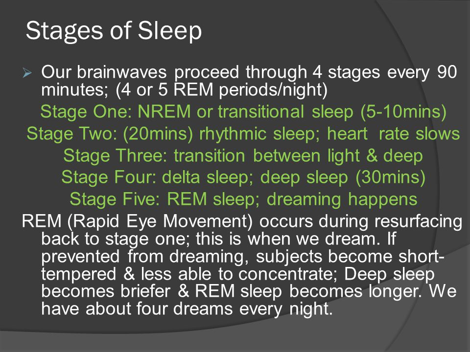 Stages of Sleep  Our brainwaves proceed through 4 stages every 90 minutes; (4 or 5 REM periods/night) Stage One: NREM or transitional sleep (5-10mins) Stage Two: (20mins) rhythmic sleep; heart rate slows Stage Three: transition between light & deep Stage Four: delta sleep; deep sleep (30mins) Stage Five: REM sleep; dreaming happens REM (Rapid Eye Movement) occurs during resurfacing back to stage one; this is when we dream.