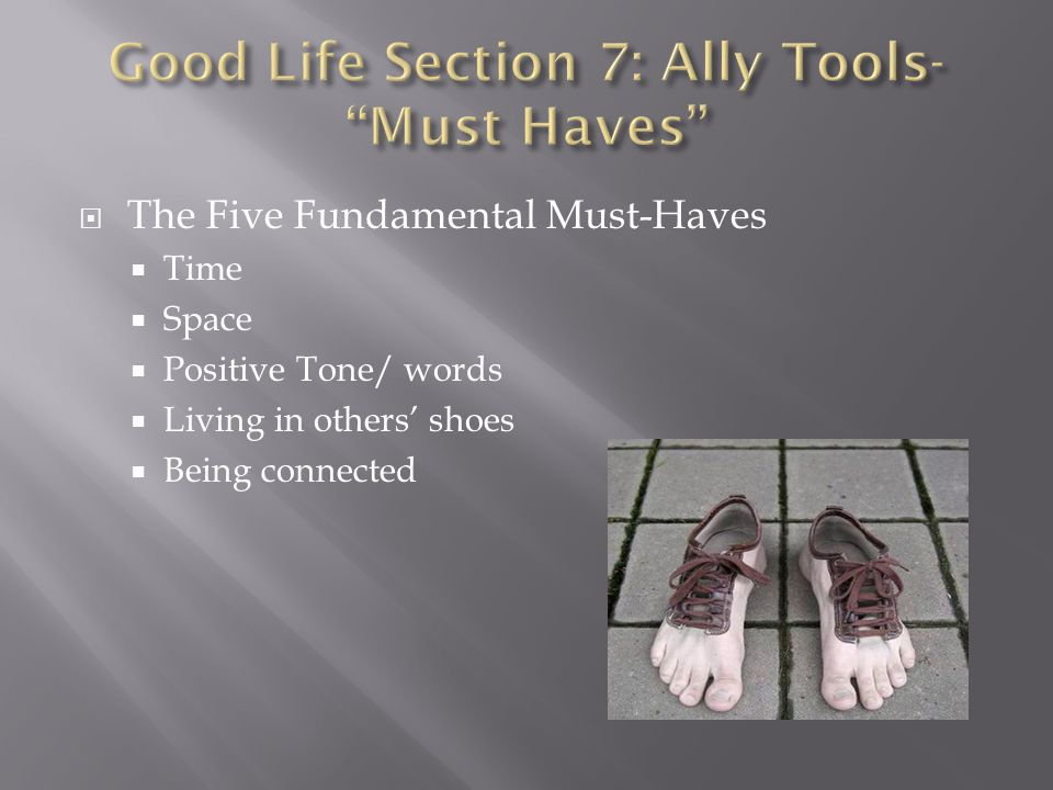  The Five Fundamental Must-Haves  Time  Space  Positive Tone/ words  Living in others' shoes  Being connected