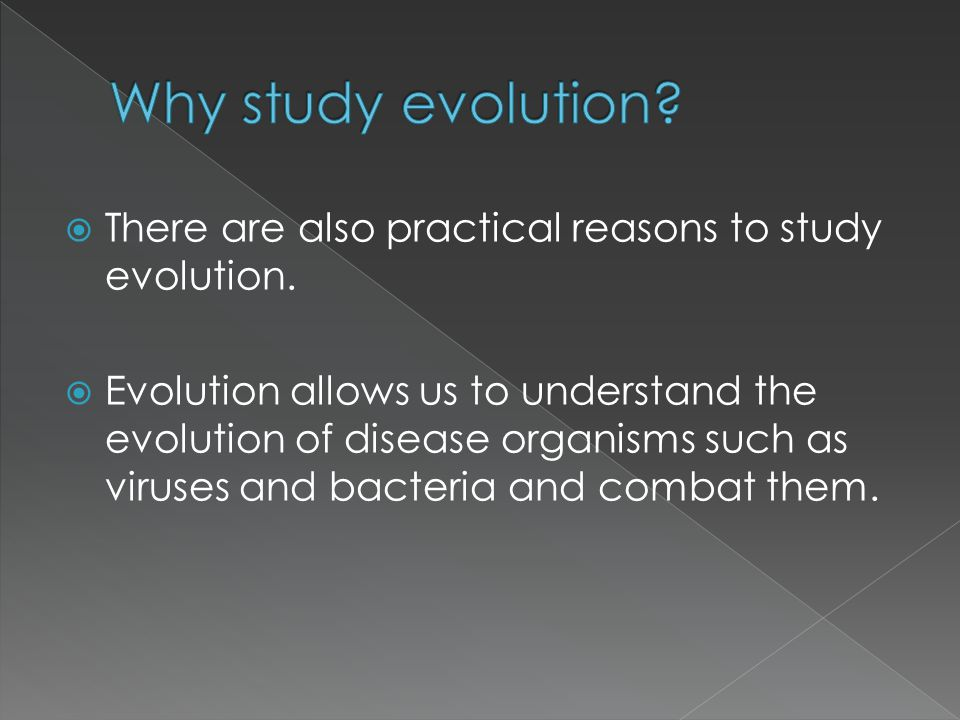  There are also practical reasons to study evolution.  Evolution allows us to understand the evolution of disease organisms such as viruses and bact