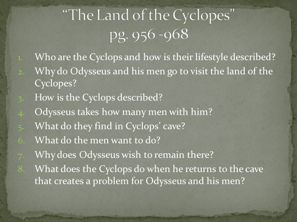 1. Who are the Lotus Eaters. 2. Why do Odysseus and his men stop at their land.