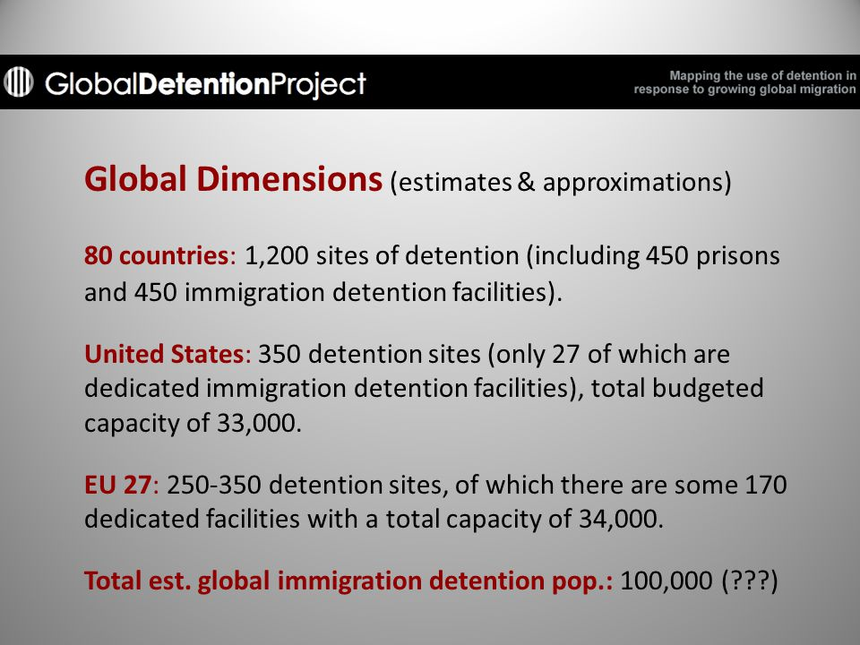 Global Dimensions (estimates & approximations) 80 countries: 1,200 sites of detention (including 450 prisons and 450 immigration detention facilities).
