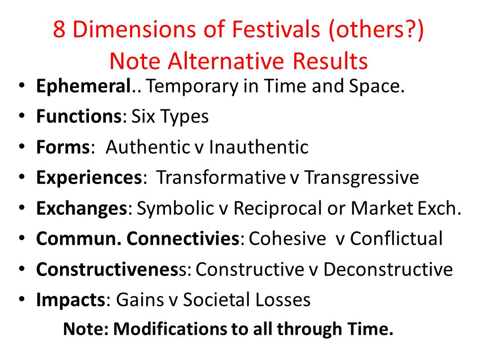 8 Dimensions of Festivals (others?) Note Alternative Results Ephemeral..