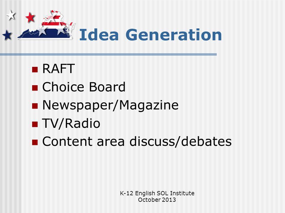 K-12 English SOL Institute October 2013 Idea Generation RAFT Choice Board Newspaper/Magazine TV/Radio Content area discuss/debates