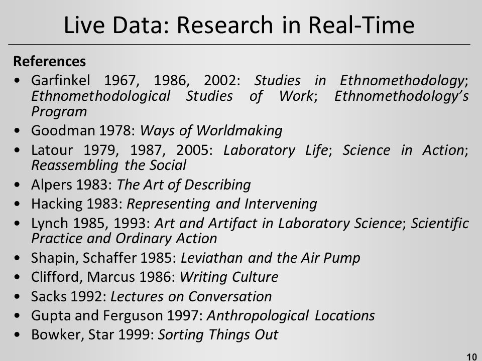 Live Data: Research in Real-Time References Garfinkel 1967, 1986, 2002: Studies in Ethnomethodology; Ethnomethodological Studies of Work; Ethnomethodology's Program Goodman 1978: Ways of Worldmaking Latour 1979, 1987, 2005: Laboratory Life; Science in Action; Reassembling the Social Alpers 1983: The Art of Describing Hacking 1983: Representing and Intervening Lynch 1985, 1993: Art and Artifact in Laboratory Science; Scientific Practice and Ordinary Action Shapin, Schaffer 1985: Leviathan and the Air Pump Clifford, Marcus 1986: Writing Culture Sacks 1992: Lectures on Conversation Gupta and Ferguson 1997: Anthropological Locations Bowker, Star 1999: Sorting Things Out 10