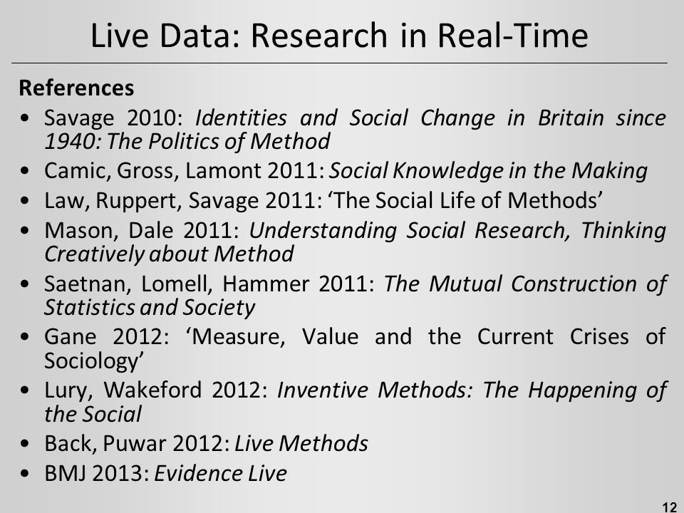 Live Data: Research in Real-Time References Savage 2010: Identities and Social Change in Britain since 1940: The Politics of Method Camic, Gross, Lamont 2011: Social Knowledge in the Making Law, Ruppert, Savage 2011: 'The Social Life of Methods' Mason, Dale 2011: Understanding Social Research, Thinking Creatively about Method Saetnan, Lomell, Hammer 2011: The Mutual Construction of Statistics and Society Gane 2012: 'Measure, Value and the Current Crises of Sociology' Lury, Wakeford 2012: Inventive Methods: The Happening of the Social Back, Puwar 2012: Live Methods BMJ 2013: Evidence Live 12