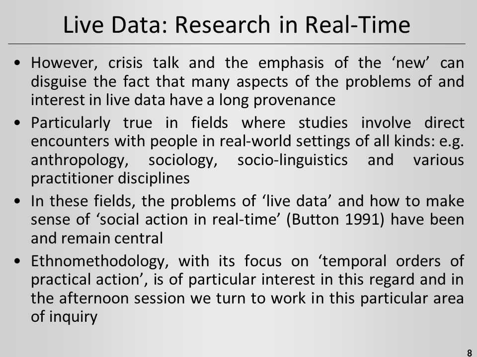Live Data: Research in Real-Time Dr.