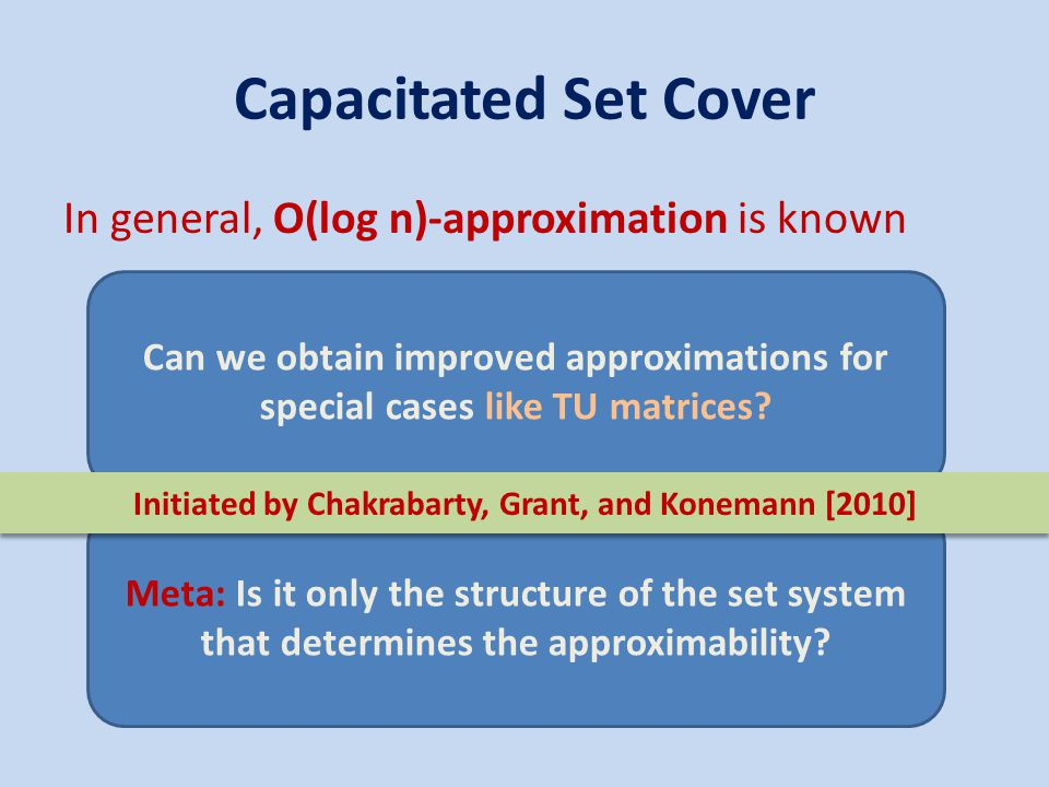 Capacitated Set Cover In general, O(log n)-approximation is known Meta: Is it only the structure of the set system that determines the approximability.