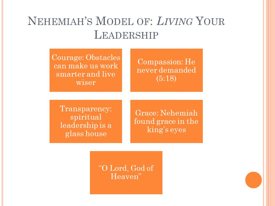 N EHEMIAH ' S M ODEL OF : L IVING Y OUR L EADERSHIP Courage: Obstacles can make us work smarter and live wiser Compassion: He never demanded (5:18) Transparency: spiritual leadership is a glass house Grace: Nehemiah found grace in the king's eyes O Lord, God of Heaven