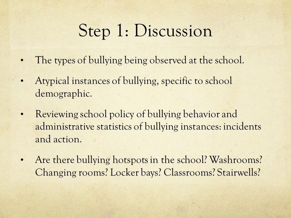 Step 1: Discussion The types of bullying being observed at the school.