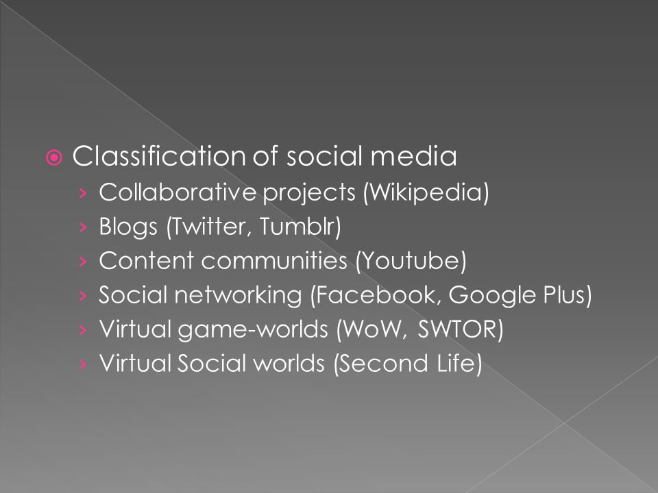  Classification of social media › Collaborative projects (Wikipedia) › Blogs (Twitter, Tumblr) › Content communities (Youtube) › Social networking (Facebook, Google Plus) › Virtual game-worlds (WoW, SWTOR) › Virtual Social worlds (Second Life)