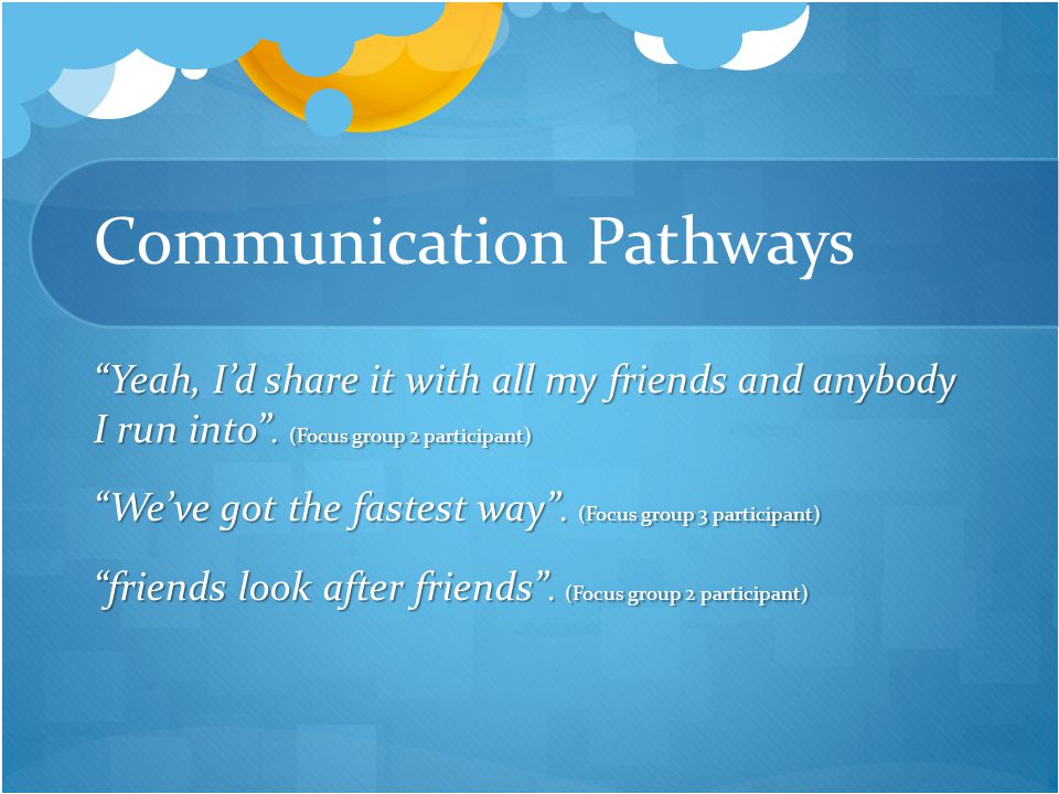 Communication Pathways Yeah, I'd share it with all my friends and anybody I run into .