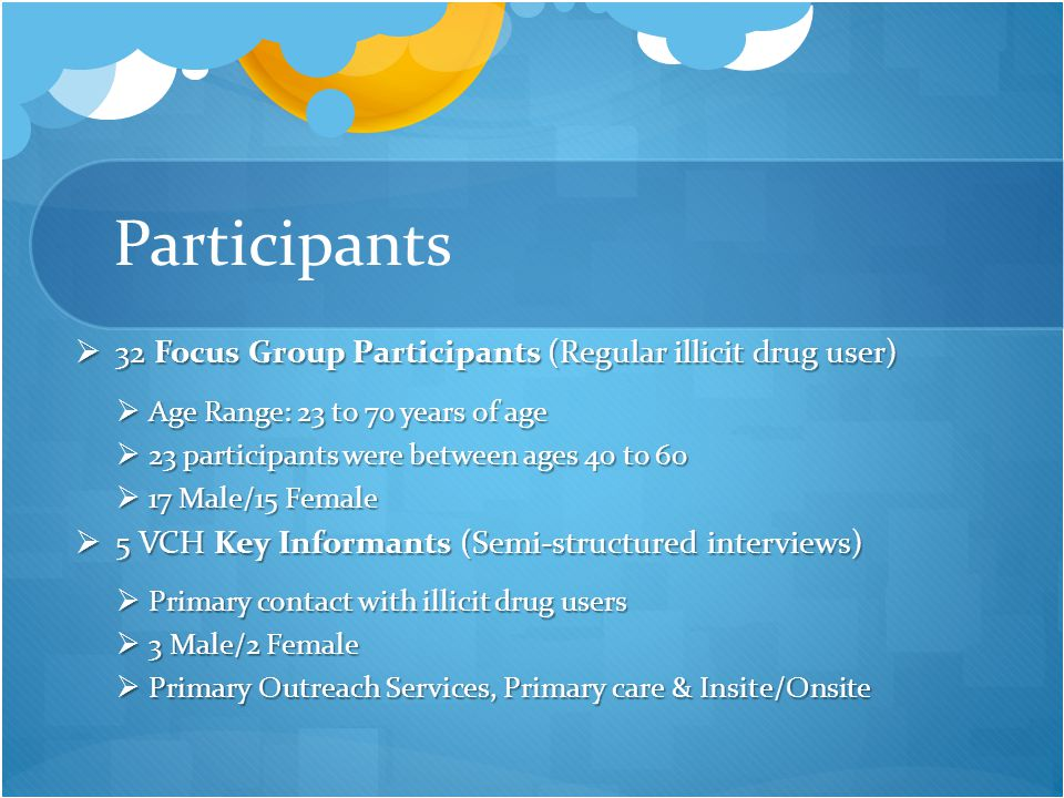 Participants  32 Focus Group Participants (Regular illicit drug user)  Age Range: 23 to 70 years of age  23 participants were between ages 40 to 60  17 Male/15 Female  5 VCH Key Informants (Semi-structured interviews)  Primary contact with illicit drug users  3 Male/2 Female  Primary Outreach Services, Primary care & Insite/Onsite