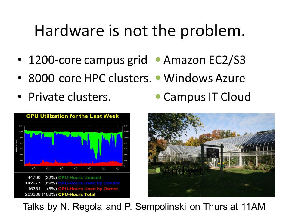 Hardware is not the problem. 1200-core campus grid 8000-core HPC clusters.