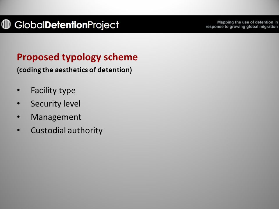 Proposed typology scheme (coding the aesthetics of detention) Facility type Security level Management Custodial authority