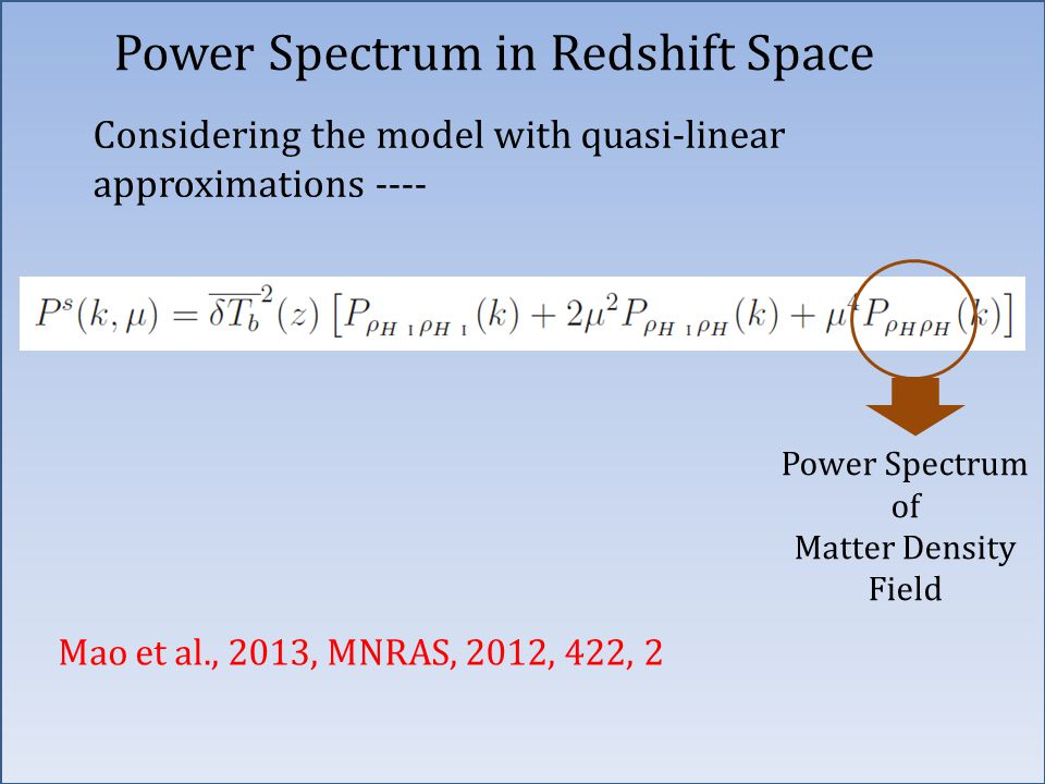 Power Spectrum in Redshift Space Considering the model with quasi-linear approximations ---- Mao et al., 2013, MNRAS, 2012, 422, 2 Power Spectrum of Matter Density Field