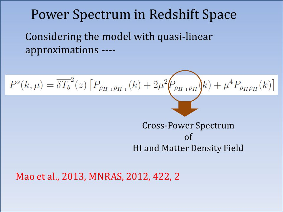 Power Spectrum in Redshift Space Considering the model with quasi-linear approximations ---- Mao et al., 2013, MNRAS, 2012, 422, 2 Cross-Power Spectrum of HI and Matter Density Field