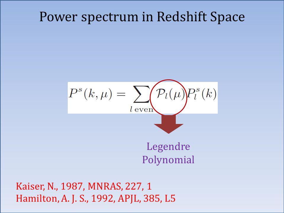 Legendre Polynomial Power spectrum in Redshift Space Kaiser, N., 1987, MNRAS, 227, 1 Hamilton, A. J. S., 1992, APJL, 385, L5