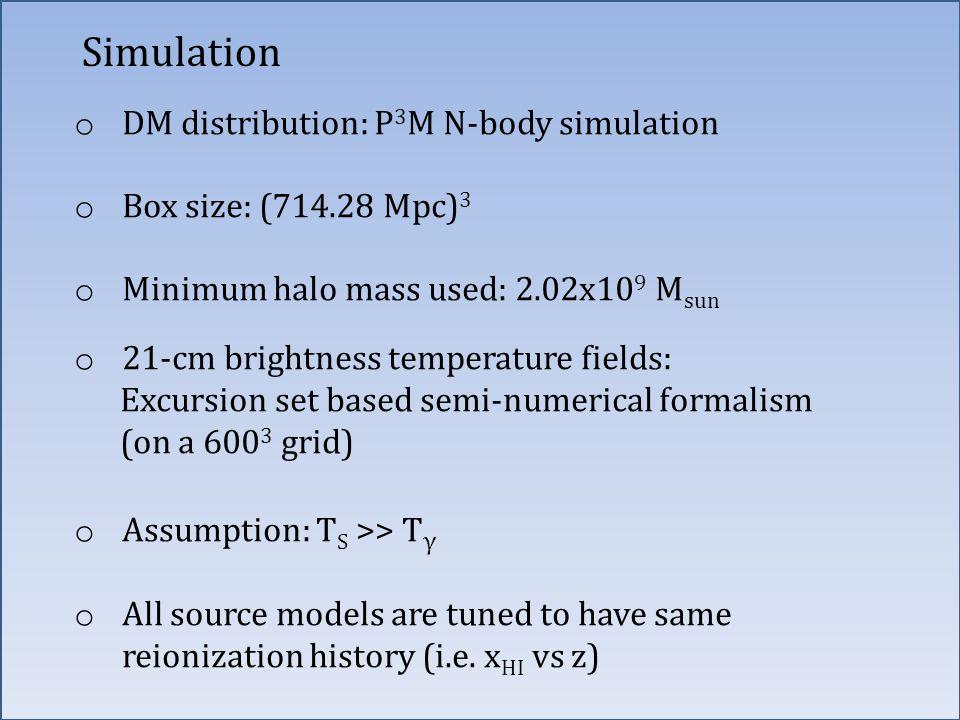 Simulation o DM distribution: P 3 M N-body simulation o Box size: (714.28 Mpc) 3 o Minimum halo mass used: 2.02x10 9 M sun o 21-cm brightness temperat