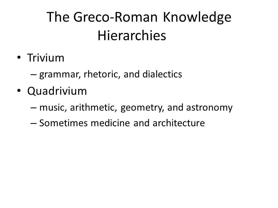 Trivium – grammar, rhetoric, and dialectics Quadrivium – music, arithmetic, geometry, and astronomy – Sometimes medicine and architecture The Greco-Roman Knowledge Hierarchies