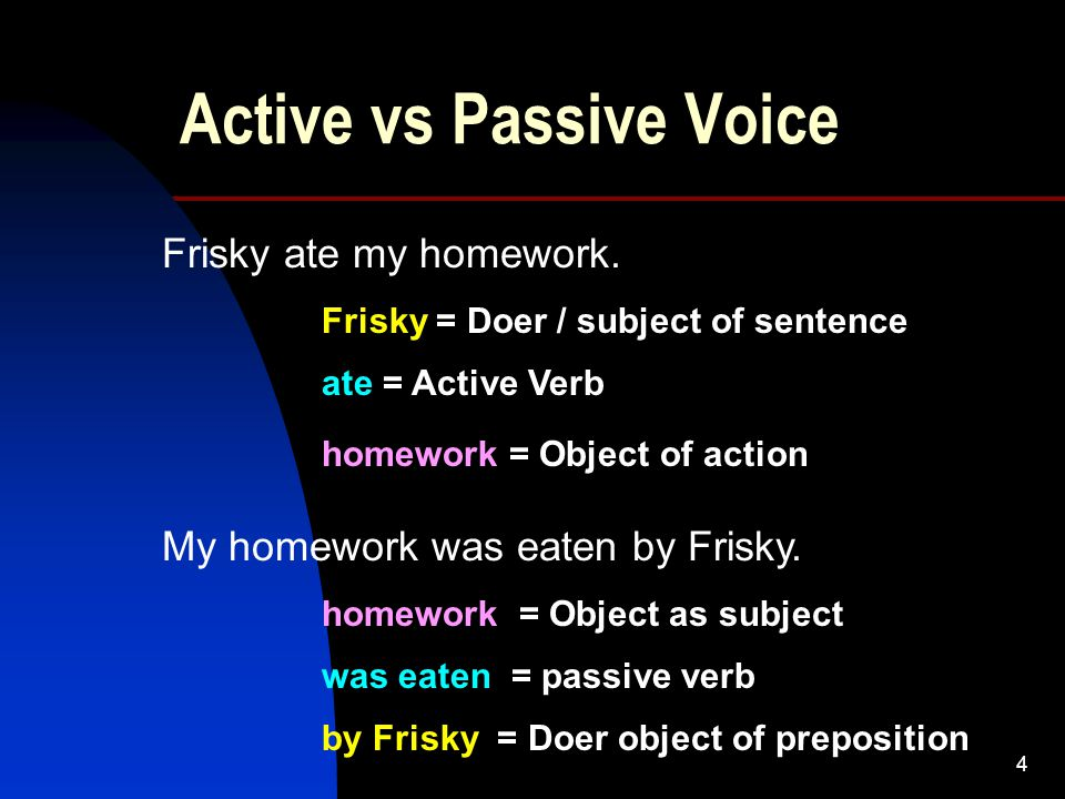 4 Active vs Passive Voice Frisky ate my homework. My homework was eaten by Frisky.