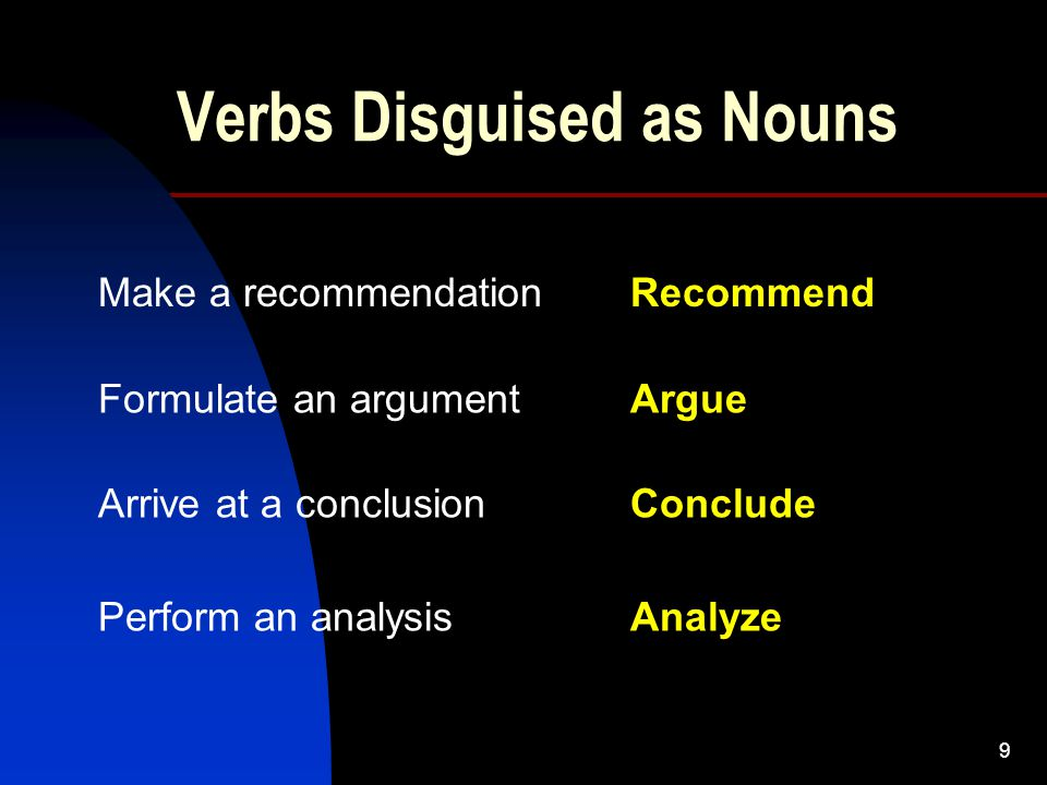 9 Verbs Disguised as Nouns Make a recommendationRecommend Formulate an argument Arrive at a conclusion Perform an analysis Argue Conclude Analyze