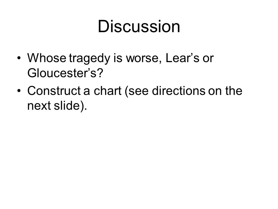 Discussion Whose tragedy is worse, Lear's or Gloucester's.