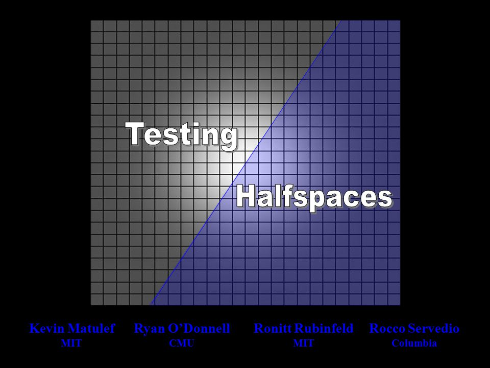 The truth about the Boolean test 2-query Gaussian test non-balanced case Boolean, low-influences version testing for low influences cross-testing two low-influence halfspaces stitching together halfspaces, LP bounds junta-testing [FKRSS'02]