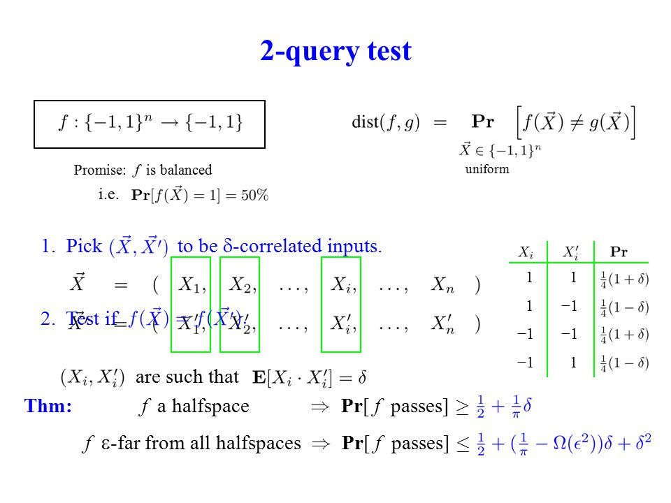 2-query test Promise: f is balanced 1.Pick to be  -correlated inputs.
