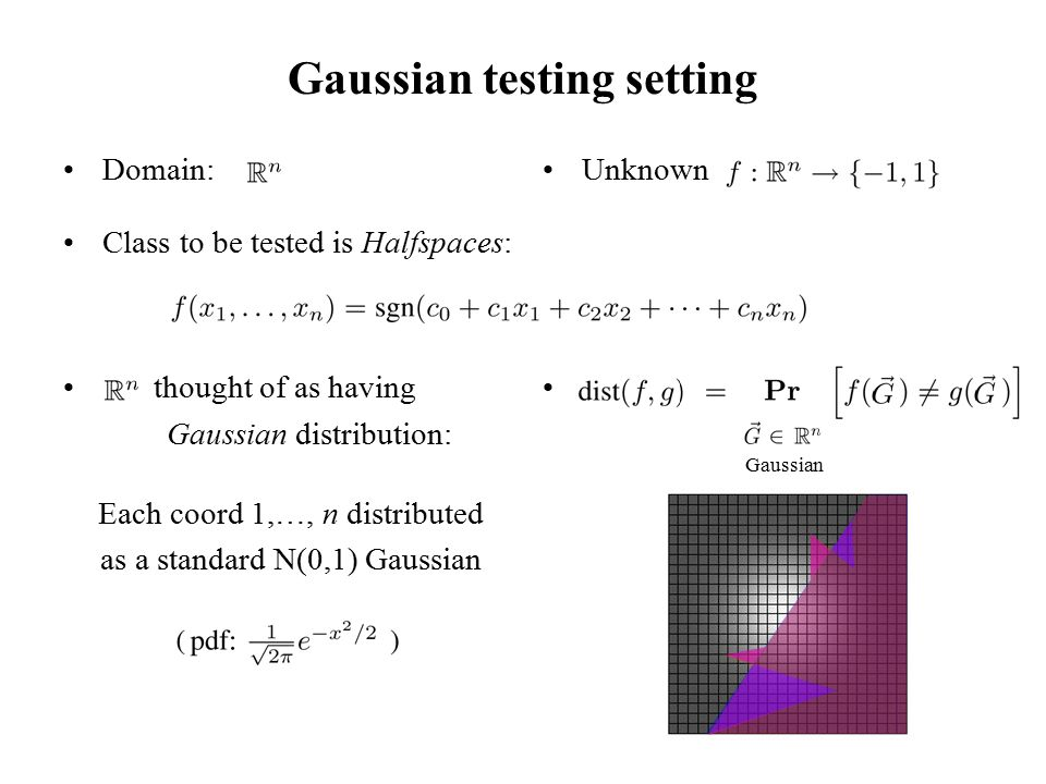 Gaussian testing setting Domain: Class to be tested is Halfspaces: thought of as having Gaussian distribution: Each coord 1,…, n distributed as a standard N(0,1) Gaussian Unknown Gaussian