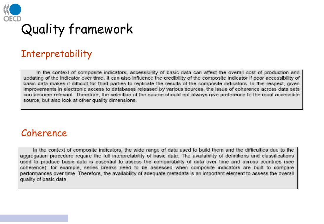 Quality framework Interpretability Coherence