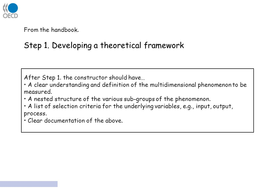 From the handbook. Step 1. Developing a theoretical framework After Step 1.