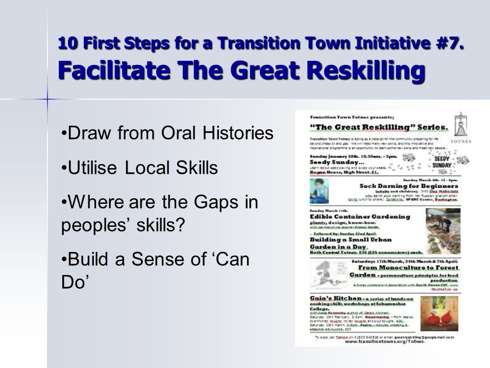 10 First Steps for a Transition Town Initiative #7.