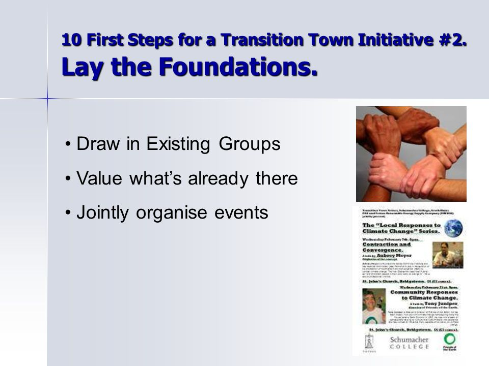 10 First Steps for a Transition Town Initiative #2.