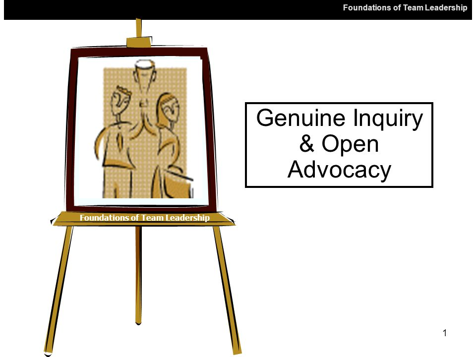 Foundations of Team Leadership 1 Genuine Inquiry & Open Advocacy