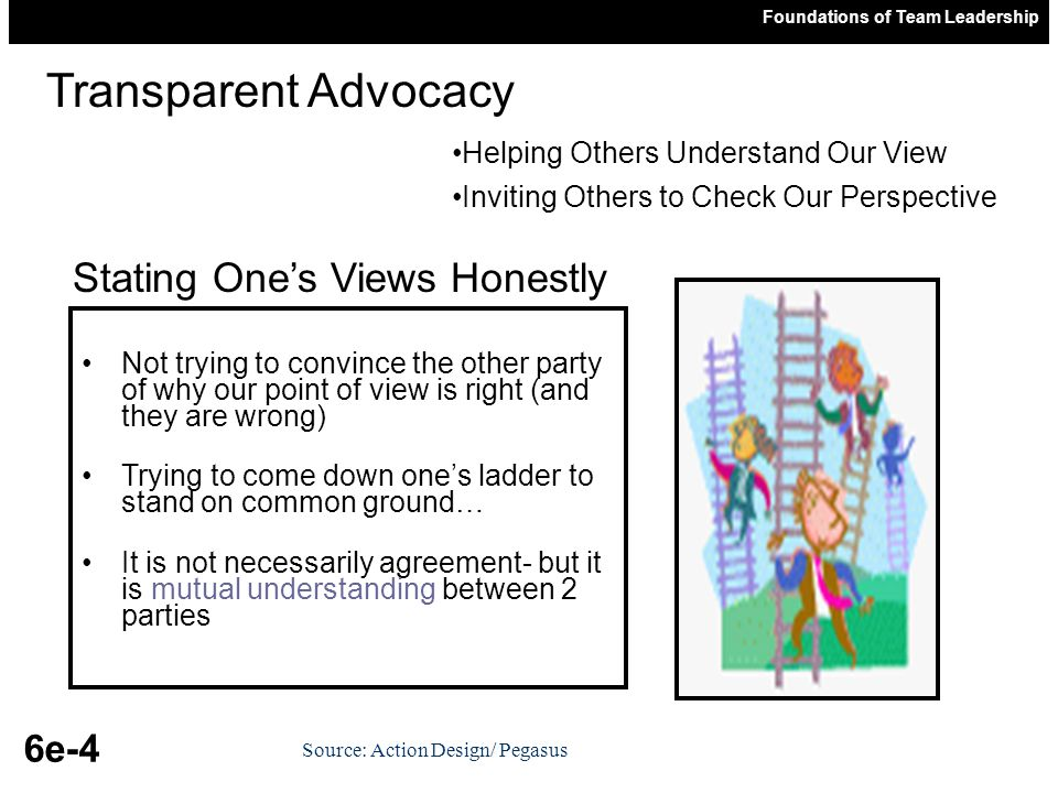 Foundations of Team Leadership 6e-4 Source: Action Design/ Pegasus Not trying to convince the other party of why our point of view is right (and they are wrong) Trying to come down one's ladder to stand on common ground… It is not necessarily agreement- but it is mutual understanding between 2 parties Transparent Advocacy Stating One's Views Honestly Helping Others Understand Our View Inviting Others to Check Our Perspective