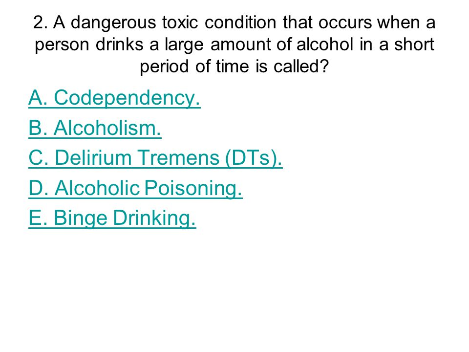 9.How often does a person drink & become intoxicated (in stage one of alcoholism).