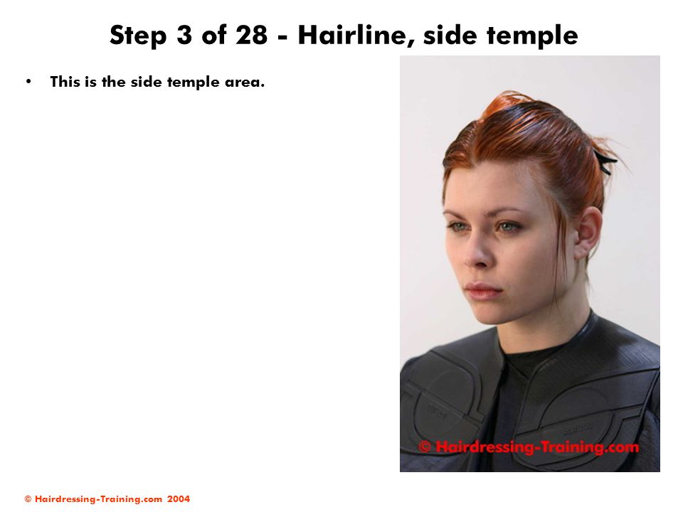 © Hairdressing-Training.com 2004 Step 14 of 28 - Front area At this stage of your haircut, you need to create a diagonal cutting line at the sides.