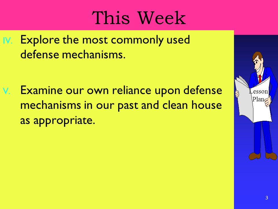 3 This Week IV. Explore the most commonly used defense mechanisms.