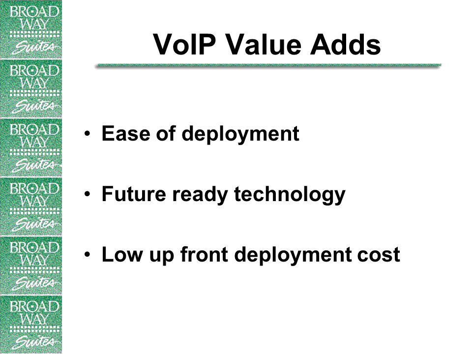 VoIP Value Adds Ease of deployment Future ready technology Low up front deployment cost