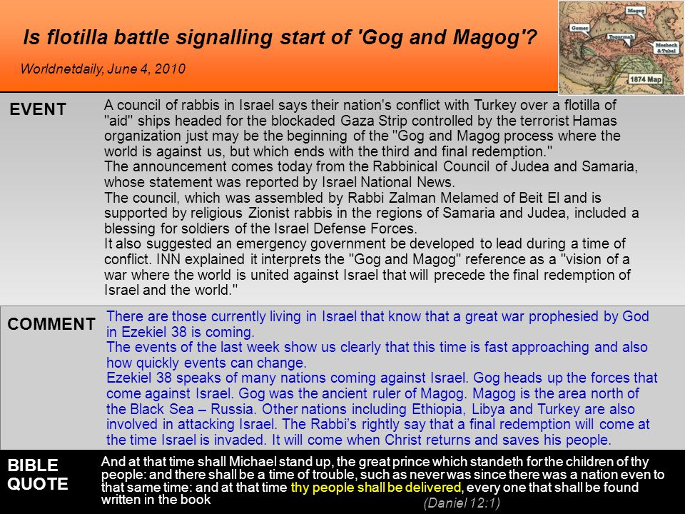Is flotilla battle signalling start of Gog and Magog .